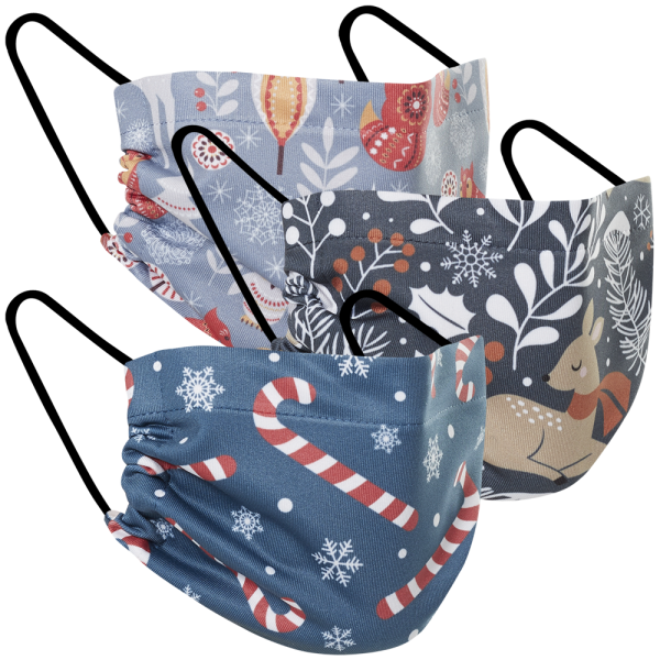 Candy Cane Lane - Three Pack Fabric Face Mask