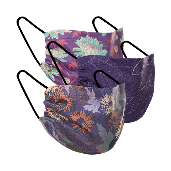 Autumn Flowers - Three Pack Fabric Face Mask