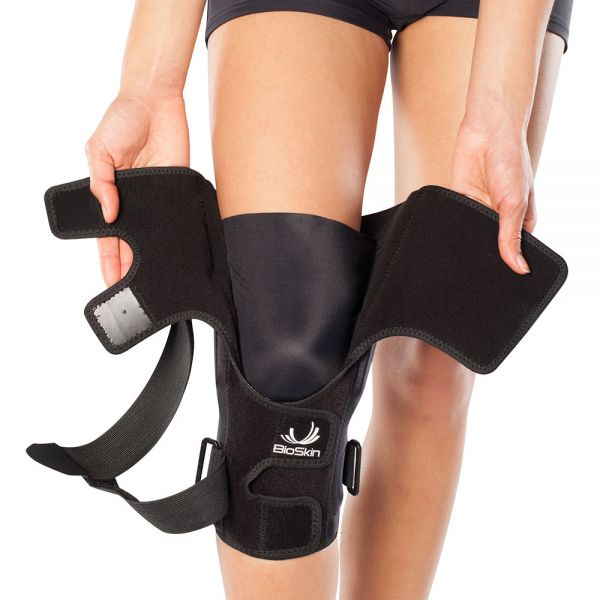 Compression hinged knee brace wraparound