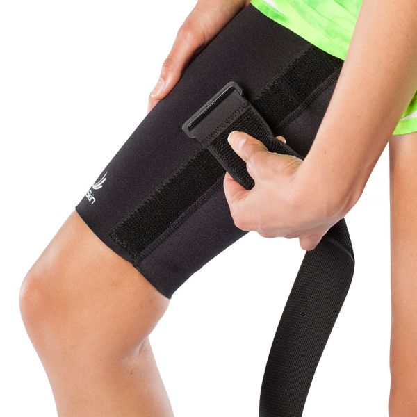 Cinch strap for thigh compression sleeve