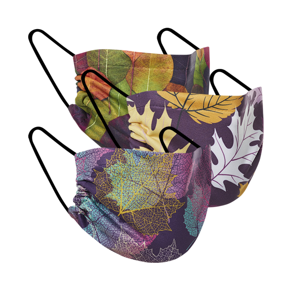 Double Layer Mask - Falling Leaves 3 Pack Masks
